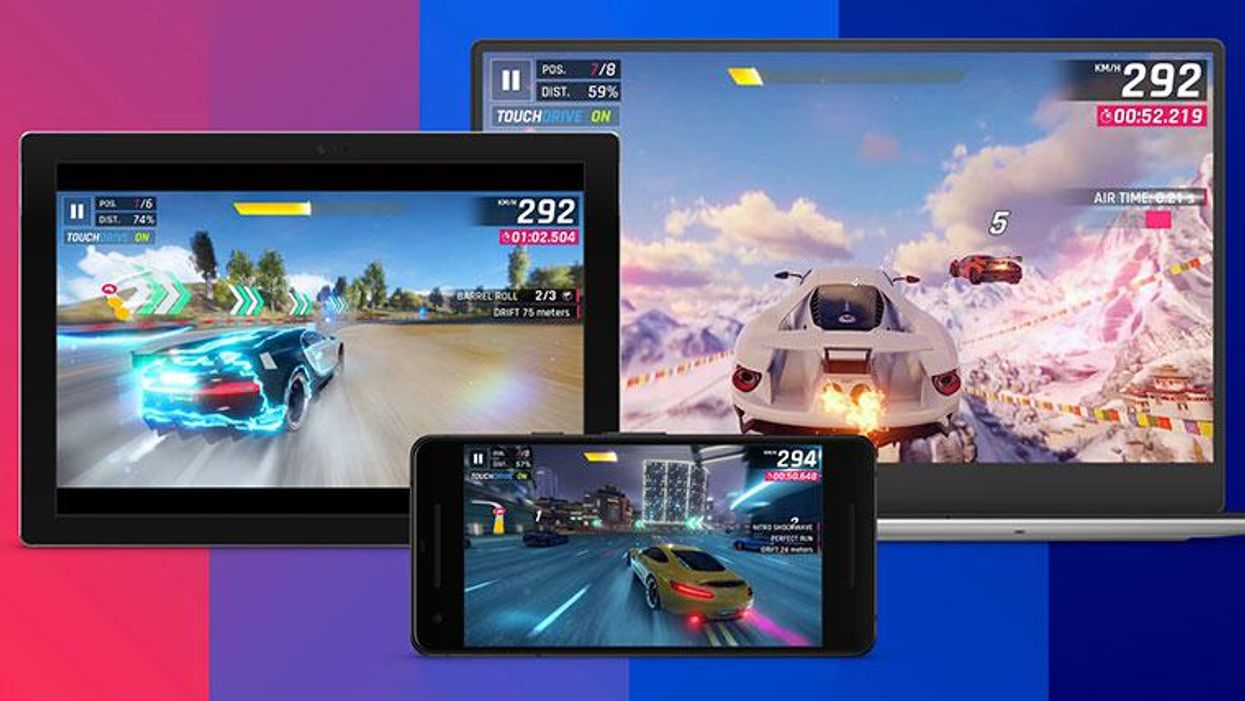 The Android game Asphalt 9: Legends playing on a tablet, phone, and computer uses Facebook's cloud service.