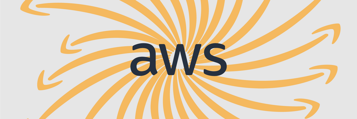 The AWS logo surrounded by a spiral of Amazon's trademark arrows.