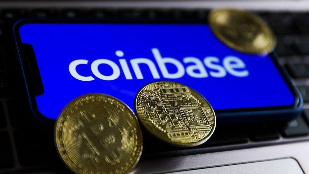 The Coinbase logo, with coins.