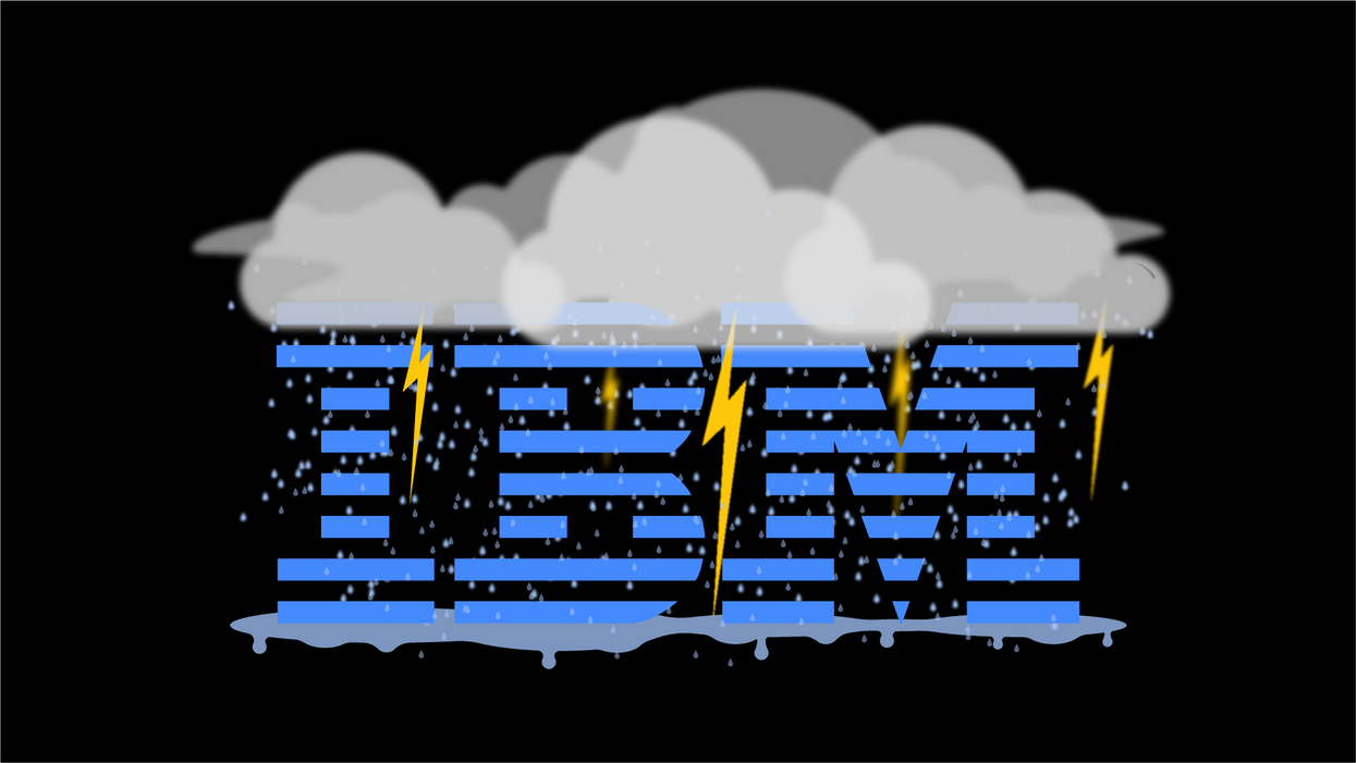 The IBM logo surrounded by storm clouds.