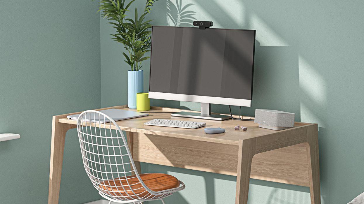The Logi Dock on a computer desk.