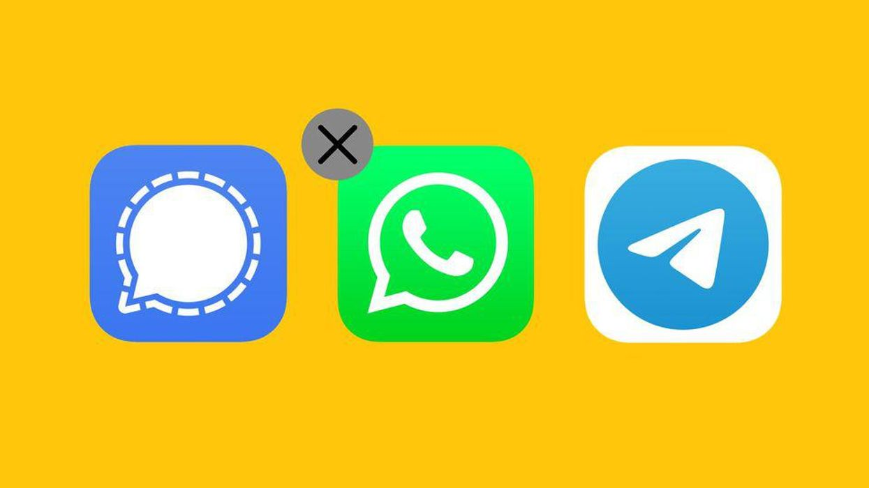 """The Signal, WhatsApp and Telegram mobile-app icons, with an """"X"""" in the corner of the WhatsApp icon."""