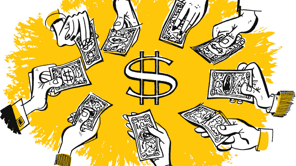 An illustration of hands holding paper money in front of a yellow background with a dollar sign in the center.