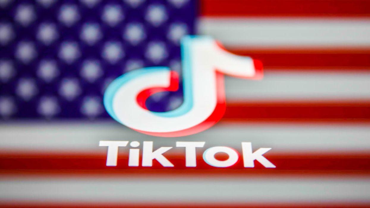 TikTok logo against the American flag