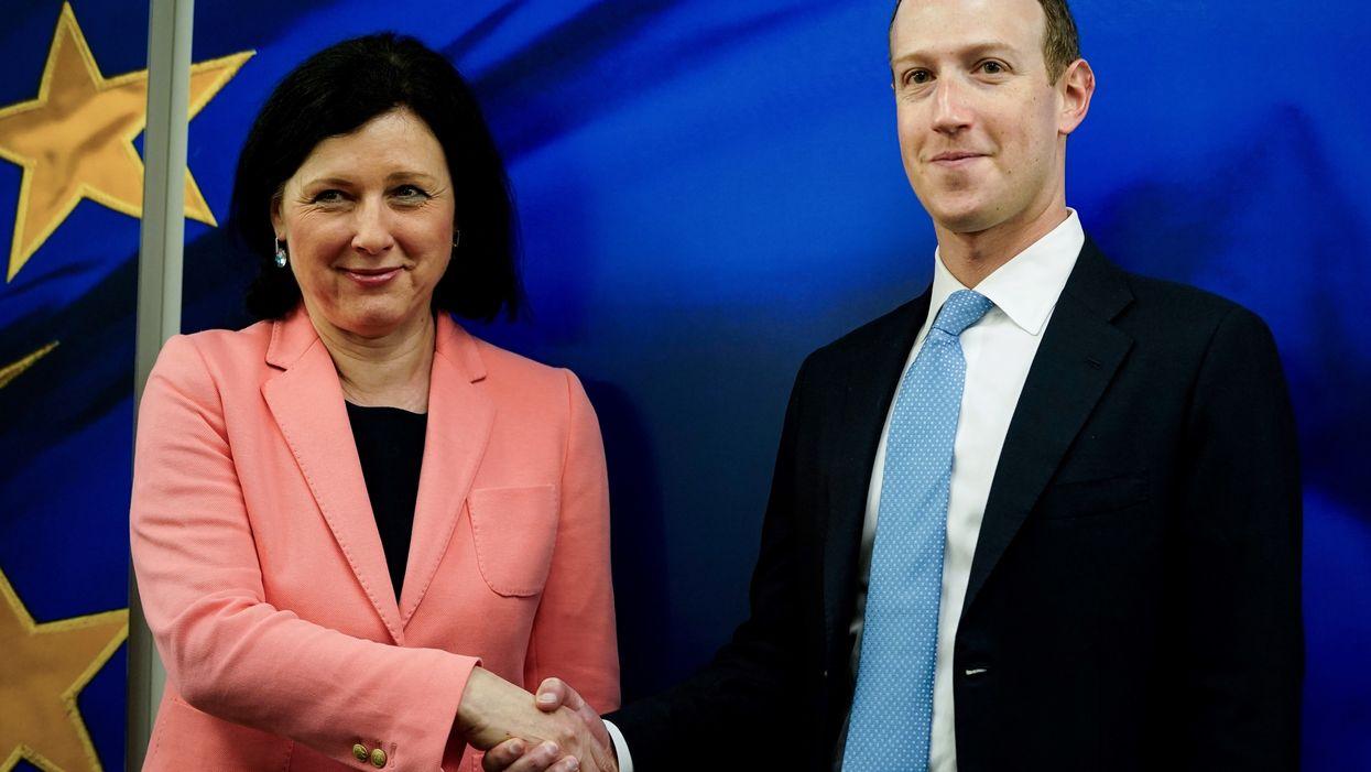 Vera Jourova and Mark Zuckerberg