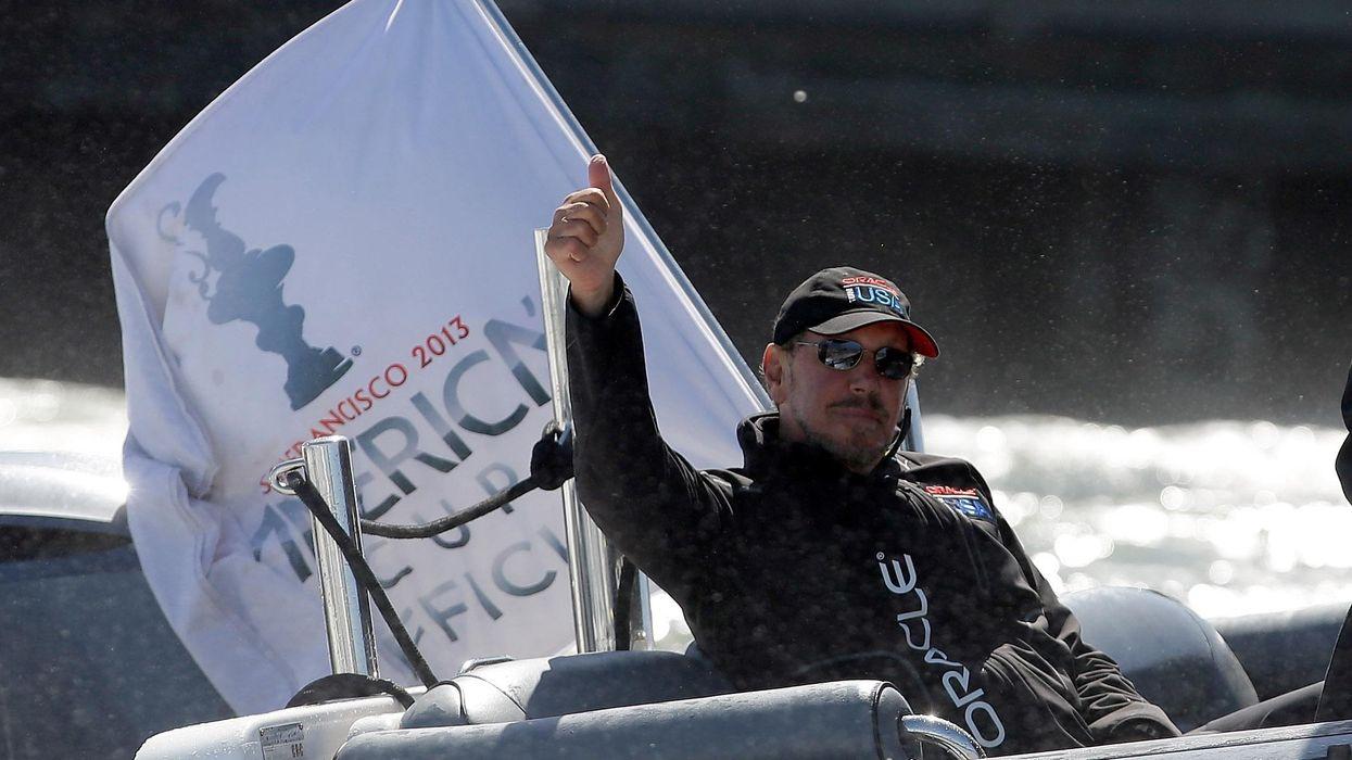 Larry Ellison, in a boat.